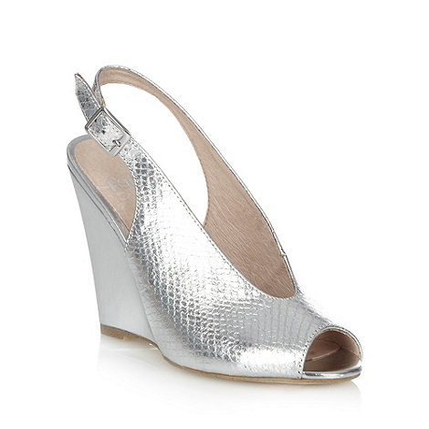 Faith - Silver high wedge heeled slingback shoes