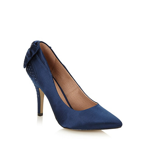 Faith - Navy satin studded high court shoes