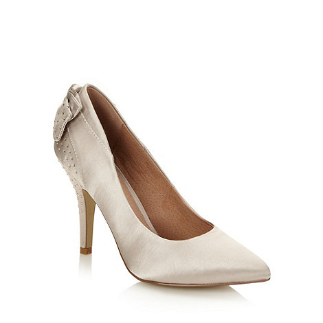 Faith - Taupe satin studded high court shoes