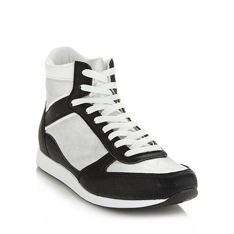 Faith - Black glitter panelled high top trainers