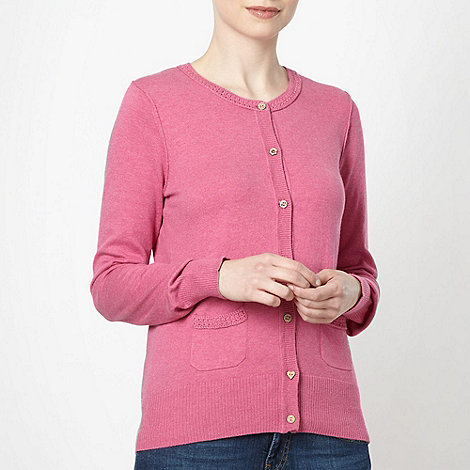 Mantaray - Dark pink crochet trimmed cardigan