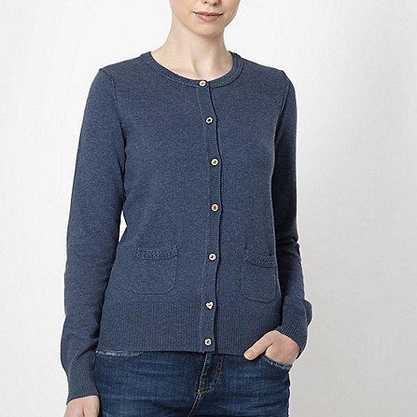 Mantaray - Dark blue crochet trimmed cardigan