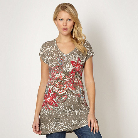 Mantaray - Natural floral jersey top