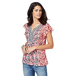 Mantaray - Pale pink Aztec embroidery top