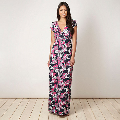 Mantaray - Navy hibiscus maxi dress