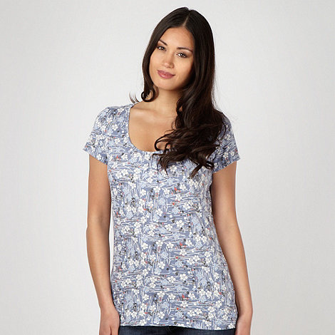Mantaray - Blue spotted and striped floral t-shirt