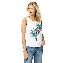 Mantaray - White parrot print crochet vest top