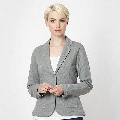 Mantaray - Light grey dogtooth checked jersey blazer