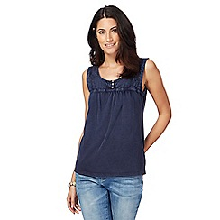 Mantaray - Navy lace yoke sleeveless top