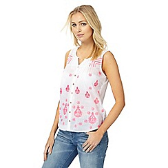 Mantaray - Pink embroidered notch neck top
