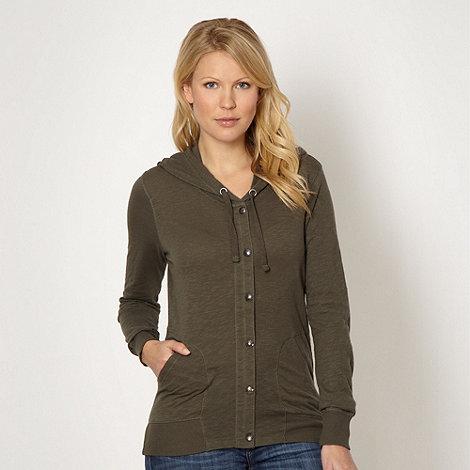 Mantaray - Khaki textured jersey hoodie