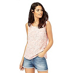 Mantaray - White and pink printed pocket shell top