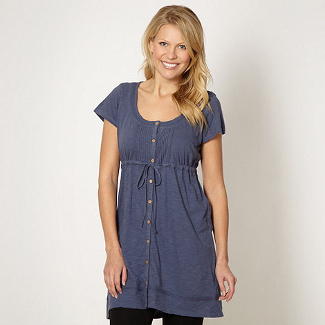 Mantaray - Dark blue textured jersey tunic top