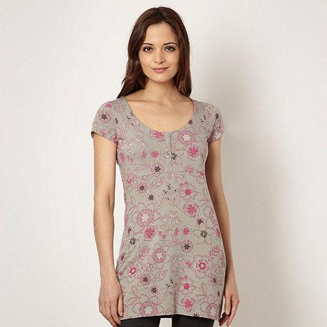 Mantaray - Grey sketched floral tunic top