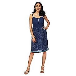 Mantaray - Navy printed V-neck knee length sun dress