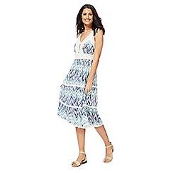 Mantaray - Light turquoise lace V-neck midi shift dress