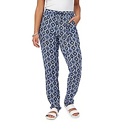Mantaray - Navy diamomd print harem trousers