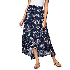 Mantaray - Navy parrot print dipped hem skirt