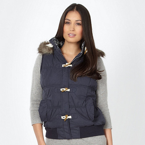 Mantaray - Navy fleece lined duffle gilet