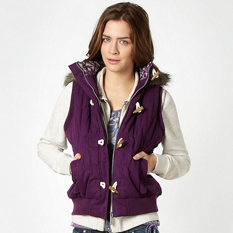 Mantaray - Purple padded fleece lined duffle gilet