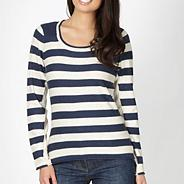 Navy striped knit jumper
