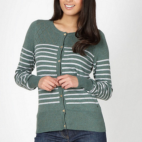 Mantaray - Green striped pointelle knit cardigan