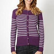 Purple striped pointelle cardigan