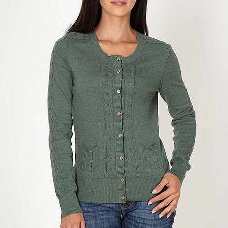 Mantaray - Green cable knitted cardigan