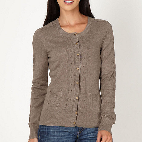 Mantaray - Taupe cable knitted cardigan