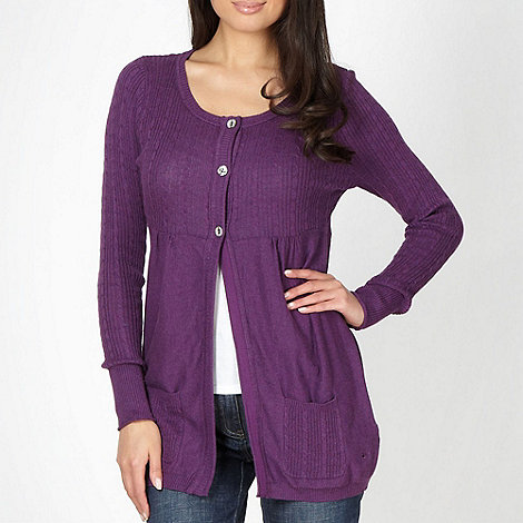 Mantaray - Purple cable knit longline cardigan