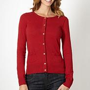 Red pointelle shoulder cardigan