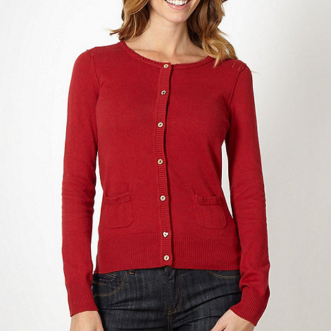 Mantaray - Red pointelle shoulder cardigan