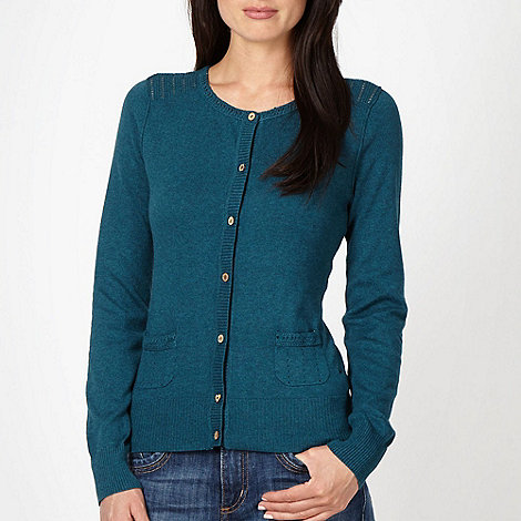 Mantaray - Turquoise crochet trim cardigan