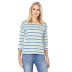 Mantaray - Green striped buttoned back top