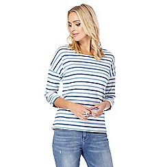 Mantaray - Blue striped buttoned back top
