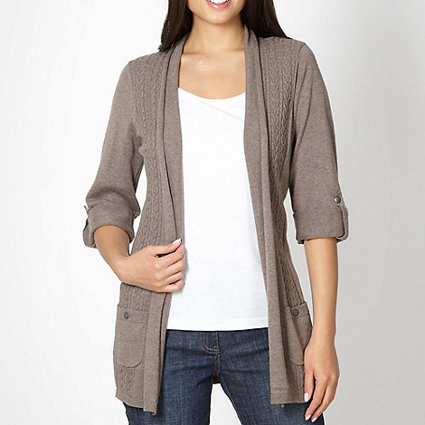 Mantaray - Taupe vertical cable knit cardigan