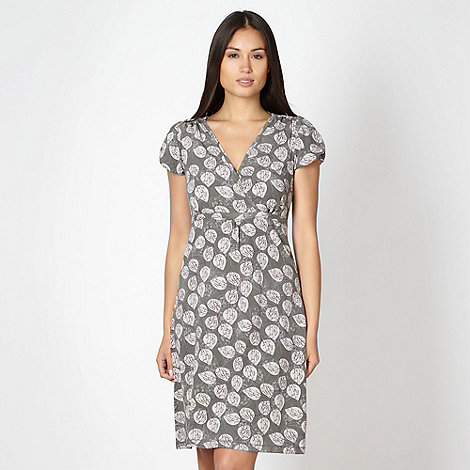 Mantaray - Grey leaf printed jersey dress