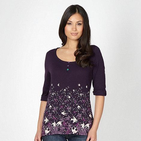 Mantaray - Purple bird border t-shirt