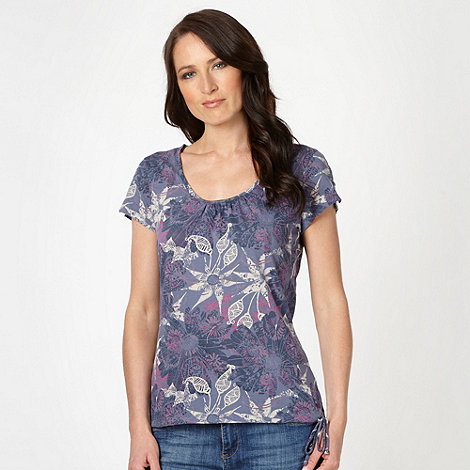 Mantaray - Navy floral printed scoop neck t-shirt