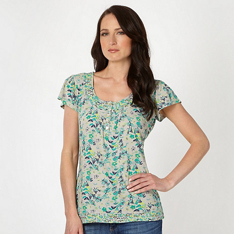 Mantaray - Light grey floral leaf top