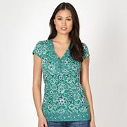 Green mixed floral print top