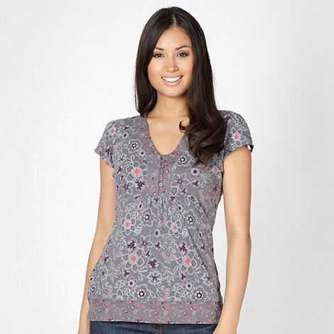 Mantaray - Grey mixed floral print top