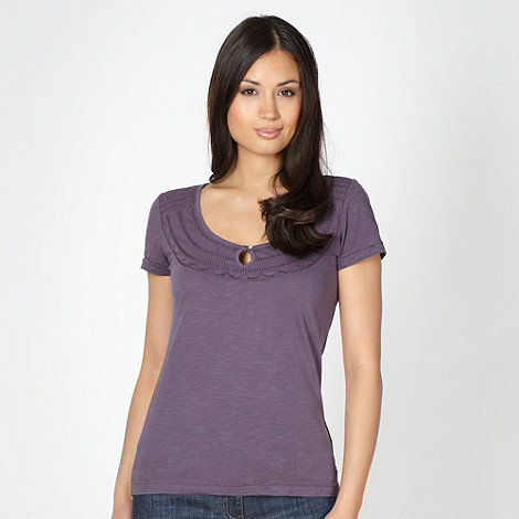 Mantaray - Purple stitch neck t-shirt
