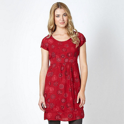 Mantaray - Red circular pattern stitch dress