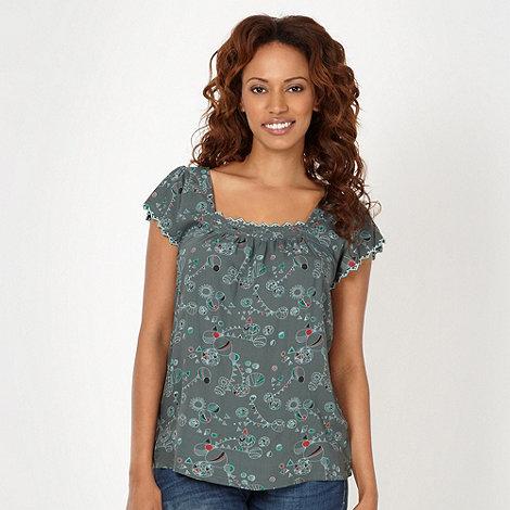 Mantaray - Green bunting patterned top