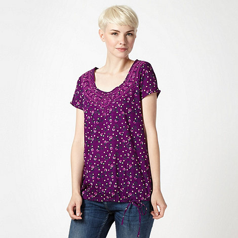 Mantaray - Purple leaf embroidered top