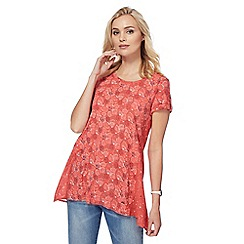 Mantaray - Dark peach printed short-sleeved tunic