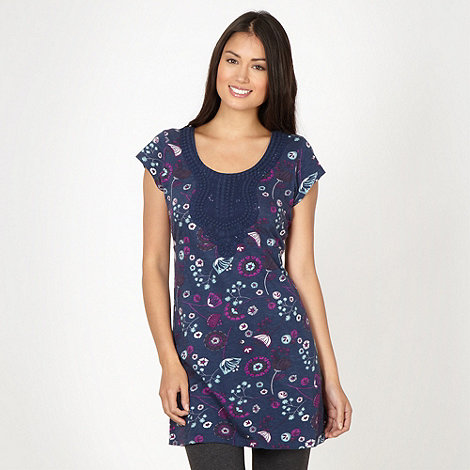 Mantaray - Navy floral lace trim tunic