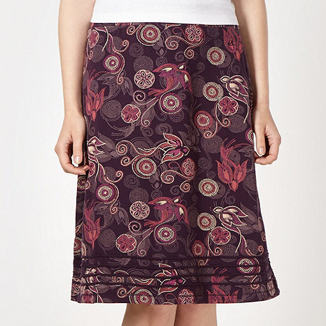 Mantaray - Dark purple spotted bird jersey skirt