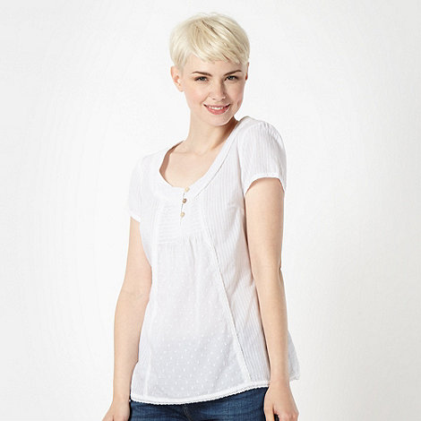 Mantaray - White woven short sleeve top